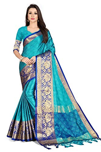 Aurika Fashion Banarasi Cotton Silk Kanjivaram Style Saree With Blouse Piece