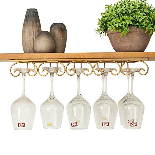 Etagère à bouteille Porte-verre à vin à l'envers suspendus gobelets de vin Rack salon personnalisé étagère à provisions armoire de verres à pied - peut accrocher 10 verres, L50xW22.5cm