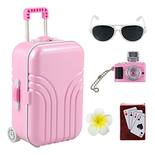 BARWA 18 inch Doll Travel Set Suitcase Pink Suitcase and Camera with Sunglasses Flower Hair Clip and Play Card Compatible for American Doll
