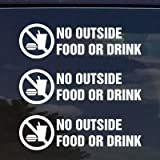 NO Food OR Drink Vinyl Decal / Sticker for Stores Businesses (x3 Pack Bundle)