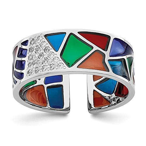 925 Sterling Silver Abstract Multi Color Enamel Cubic Zirconia Cz Cuff Band Ring Size 6.00 Fine Jewelry For Women Gifts For Her