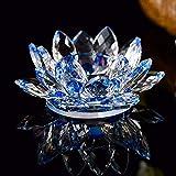 idreamtrader Photophore en cristal en forme de fleur de lotus pour bougie chauffe-plat avec boîte cadeau, bleu