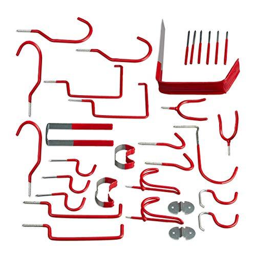 Relaxdays Wandhaken 30er Set, Verschiedene Gerätehalter, universal, Haken Sortiment, PVC-beschichtet, Garage, Stahl, rot, H x B x T: ca. 14 x 3,5 x 16,5 cm