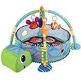 Palestrina Tappeto Recinto Gioco per Neonato Tartaruga Fitch Baby In morbido Tessuto Con Giocattoli Pendenti Trasformazione in Box con Palline (Verde - Arancio)