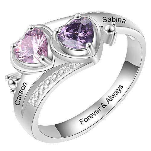 Anillos de plata personalizados para madres con 2 piedras natales Anillos de compromiso para mujer(Plata 17.25)