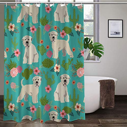 irish wheaten cactus floral soft coated wheaten terrier dog cactus florals teal Colorful Shower Curtain Bathroom Polyester Fabric Liner Shower Curtain with Hooks 60' W x 72' H