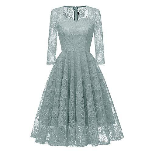 Frauen Vintage Prinzessin Blumenspitze Cocktail V-Ausschnitt Party Aline Swing Kleid