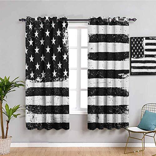 Cortina de aislamiento térmico oscurecida de Estados Unidos, 114 cm de largo, con diseño de bandera americana, color blanco y negro, blanco y negro
