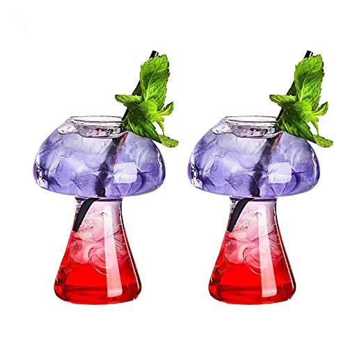 Mushroom Glasses Creative Mushroom Cocktail Glass Cup Set of 2 Clear Mushroom Shaped Drinks Cups 250ml Wine Glasses for Party Novelty Mushroom Glasses Drinking for KTV Bar Club (Transparent)