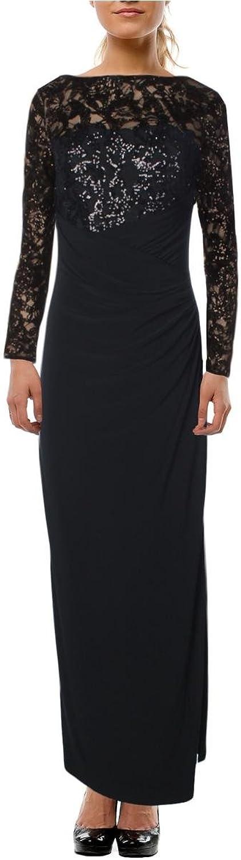 Lauren Ralph Lauren Womens Sequined Lace Evening Dress Black 6