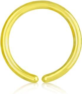Piercing de nariz de titanio chapado en oro, 0,8 mm, anillo tensor 6 – 10 mm, diámetro: 10 mm