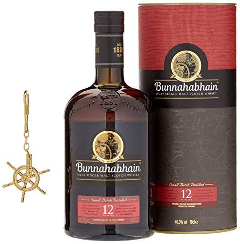 Bunnahabhain 12 Jahre - Islay Single Malt Scotch Whisky Mit Original Steuerrad-Schlüsselanhänger (1 x 0.7 l)