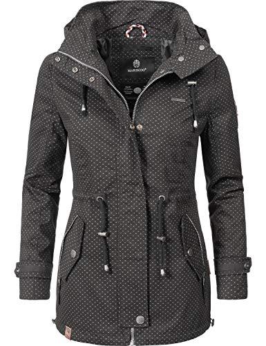 Marikoo Damen Übergangsjacke Baumwolljacke mit Kapuze Nyokoo Schwarz Dots Gr. S