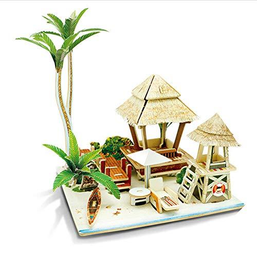 Casa Modelo De Rompecabezas De Madera 3D Diy,Casa De Muñecas En Miniatura,Kits De Manualidades, Regalo Para Niñas,Modelo De Juguete De Rompecabezas(Isla)