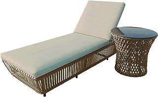 Outdoor Sunbed Adjustable Lounger Day Bed Pool Beach Patio Furniture Set (Single, Dark Grey)