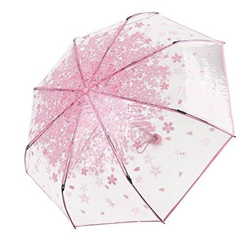 LAAT Foldabe Paraguas Romantic Cherry Rain Paraguas Transparente a Prueba de Viento Paraguas para Damas y niñas de Flores japonesas Sakura (4)