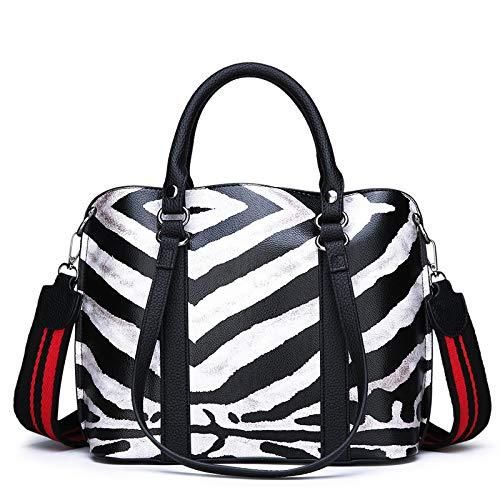 WYGmadlifeqq Leopard Print Handtasche Trend Handtasche Simple Atmosphere Damen Umhängetasche (Farbe : Zebra, größe : 30 * 24 * 11CM)