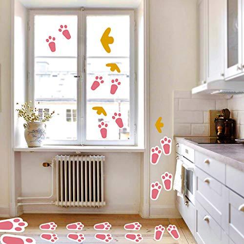 HOWAF 48 pièces Empreintes de Lapin de Pâques Enfants Jeux de fête Amusant Jardin Chasse aux œufs Empreintes de Lapin - Déco pâques Fêtes Enfants