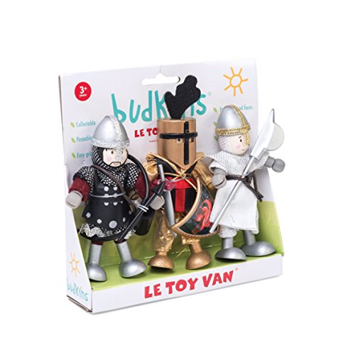 Le Toy Van - Castles Collection Educational Budkins Characters | Wooden Toy Educational Knights Budkins Gift Pack | Kids Wood Castle Playset Model Castle For Boys and Girls