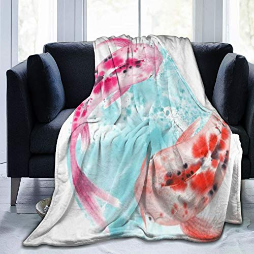 LISUMAL Flanell Fleece Soft Throw Decke,Bunte Zen Aquarell Japanische Fische Karpfen Koi Schwimmen Tiere Asiatische...