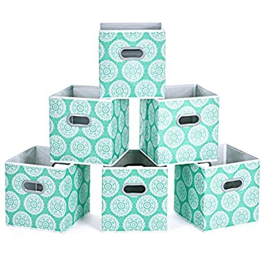 MaidMAX Fabric Storage Bins, Set of 6 Foldable Cloth Storage Cubes Organizers Drawers Containers with Dual Plastic Handles for Home Office Nursery Organization, Aqua Flower