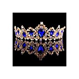 Corona de corona de cristal rojo, azul, verde, corona de novia, accesorios para el pelo, diadema de boda, color dorado y azul