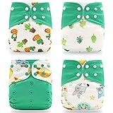 KwuLee 4 Pack Baby Stoffwindeln Set überhosen für Stoffwindel Komfortable Atmungsaktive Wiederverwendbare Waschbare Windeln für Babys und Kleinkinder (Grün + Fuchs + Eis)
