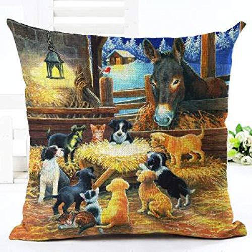 Cojines Funda de cojín Decorativa de Animales Lindos Fundas de Almohada Decoración para el hogar Funda de Almohada Textiles para la Vida en el hogar 45 × 45 cm con núcleo de Almohada