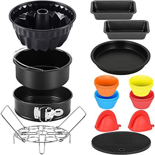 Esjay Zubehör Kompatibel mit Ninja Foodi 6L, 7.5L, Kompatibel mit Instant Pot 5.7, 8L - Runde Kuchenform, Springform, geriffelte Kuchenform, Brotlaibformen