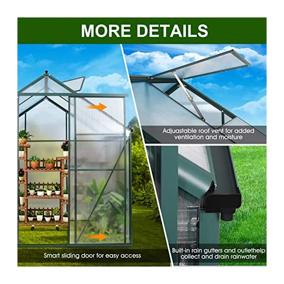 JULY'S SONG Greenhouse,Polycarbonate Walk-in Plant Greenhouse with Window for Winter,Garden Green House Kit for Backyard… 5 【EXTEND THE GROWING SEASON】Perfect for a first-time or seasoned home gardener, JULY'S SONG walk-in greenhouses protect plant against rough weather. You can make sure that your plants are healthy and happy all year round. 【STURDY & DURABLE】This DIY Greenhouse Kit is made of 4mm twinwall UV/wind resistant polycarbonate panels and thickened premium aluminum frame,all this together with heavy-duty galvanized base help provide solid support for your entire plant nursery. 【MULTI-FUNCTION DESIGN】The greenhouse for outdoor has sliding doors for easy access, roof vent for effortless ventilation, and rain gutters for effective drainage of water and snow.