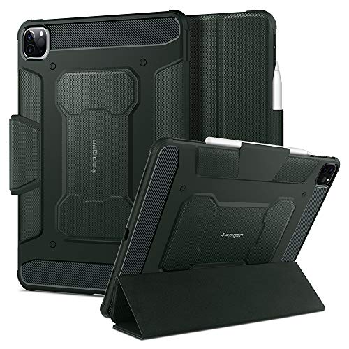 Spigen Rugged Armor Pro Compatible with iPad Pro 11 Case with pencil holder (2020/2018) - Military Green
