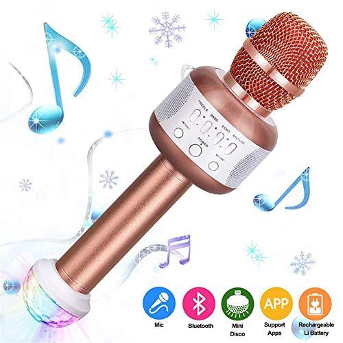 DSAEFG Karaoke Microfoon, Draagbare Draadloze Karaoke Handheld met Bluetooth Speaker Compatibel voor iphone ipad Android