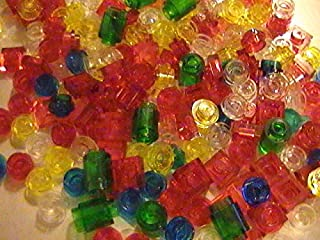 Genuine Lego 200 Small Clear and Translucent Colored 1X Finishing Pieces (loose)