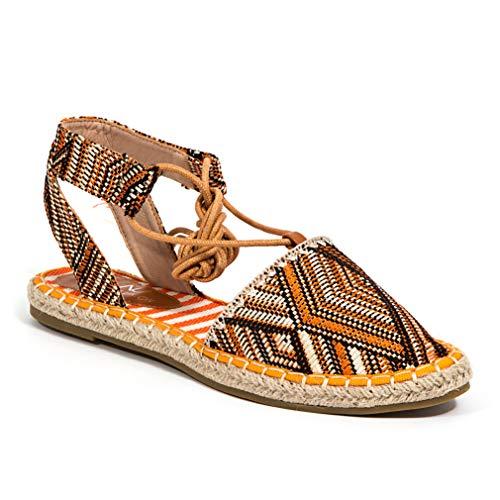 Lady Couture Aztec Print Open Back Closed Toe tie up Espadrille, Colorful Orange 11