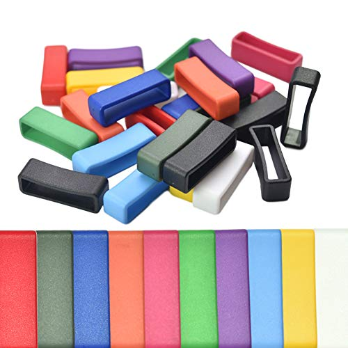 50PCS Assorted Color Plastic Belt Ring Square Buckle Loop Keeper for Watch Strap Pets Cat Dog Collar Harness Backpack Strap Webbing DIY Craft Sewing Dia.18~27mm (1