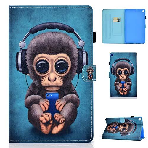 Jajacase Cover Custodia Compatibile con Samsung Galaxy Tab A 10.1 2019 SM-T510/T515 - Custodia Protettiva con PU in Pelle, Supporto e Multi-View -Scimmia di Musica