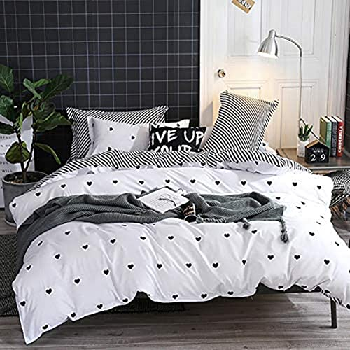 Juego de funda nórdica en blanco y negro para cama doble (cierre de cremallera + 2 fundas de almohada) Juego de ropa de cama reversible a rayas con patrón de corazón Fundas de edredón modernas (XDDoub