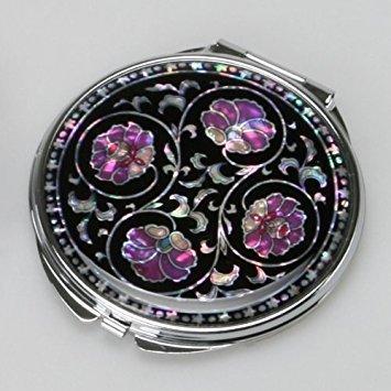 Moeder van Parel Paars Bloem Art Deco Zwart Ronde Dubbele Compacte Handtas Handtas Make-up Cosmetische Pocket Hand Spiegel met Arabesque Ontwerp