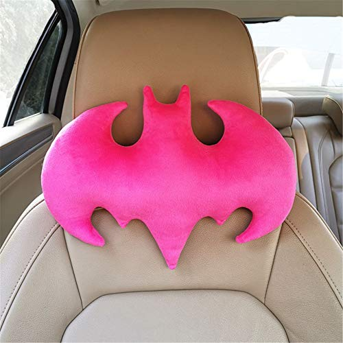 HKDFFC Cartoon Batman Nackenkissen, Creative Plush Toy Reisekissen Auto Möbeldekoration Super Weiches Rückenkissen für Kinder und Erwachsene Halloween Geburtstagsgeschenk,Rosa,M