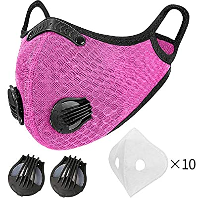 MOCOHANA Cycling Accessories Breathable with 10pcs Filters & 1 Pair Valves Replacement Face Scarf Reusable Half Face Veil for Motorcycle Riding Running Outdoor Sport Pink by MOCOHANA