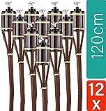 STAR - LINE 12 Gartenfackeln aus Bambus mit Docht Braun - Lange Brenndauer - Nachfüllbar - 120 cm