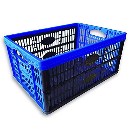 Caja Plástico Plegable, Caja De Almacenaje Apilables, Caja Para Ropa, Organizador Maletero Coche, Dimensiones 48cmx35cmx22cm (largo x ancho x alto) Azul y Negra