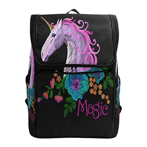 Emoya Canvas Student Rucksack Pink Violet Stickerei Einhorn Pferd Mohnblumen Büchertasche für Mädchen Jungen Schultasche