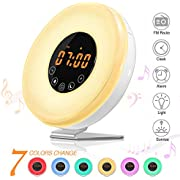 SOLMORE Wake Up Light Alarm Clock LED Bedside Lamp FM Radio Alarm Clocks