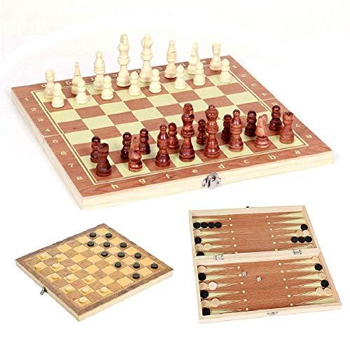 3 en 1 Ajedrez de Madera Plegable 4 Tamaño Tablero de Ajedrez Juegos de Mesa Tablero de Ajedrez Juego de Ajedrez/Damas/Backgammon Set Regalo para Niños y Adultos (34*17*3.5CM)