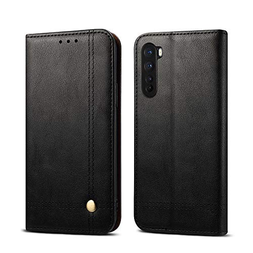 Hongxinyu OnePlus Nord Wallet Case, Folio Flip Leather Magnetic Slim Back Cover Card Holder Slot for OnePlus Nord (Black)