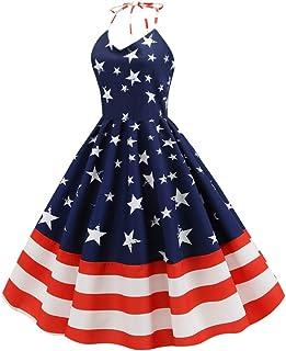 Amosfun Abito Bandiera Americana Abito da Sera Vintage con Stampa Stelle a Strisce Abiti da Ballo Abiti da Ballo per La Fe...