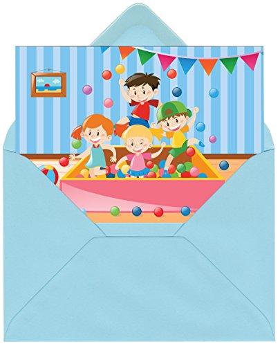 Einladungskarten zum Kindergeburtstag mit Motiv Indoorspielplatz/Bällebad. Einladungen zum Indoor Geburtstag für Jungen und Mädchen (12 Einladungen mit blauen Umschlägen)