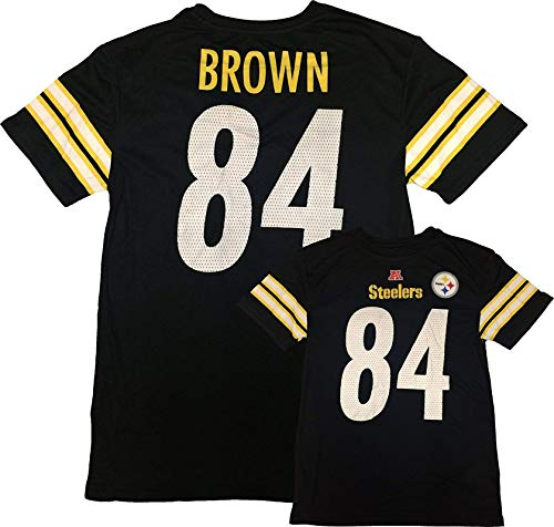Outerstuff Antonio Brown Pittsburgh Steelers #84 Black Kids Fashion Name and Number T Shirt (Kids 7)