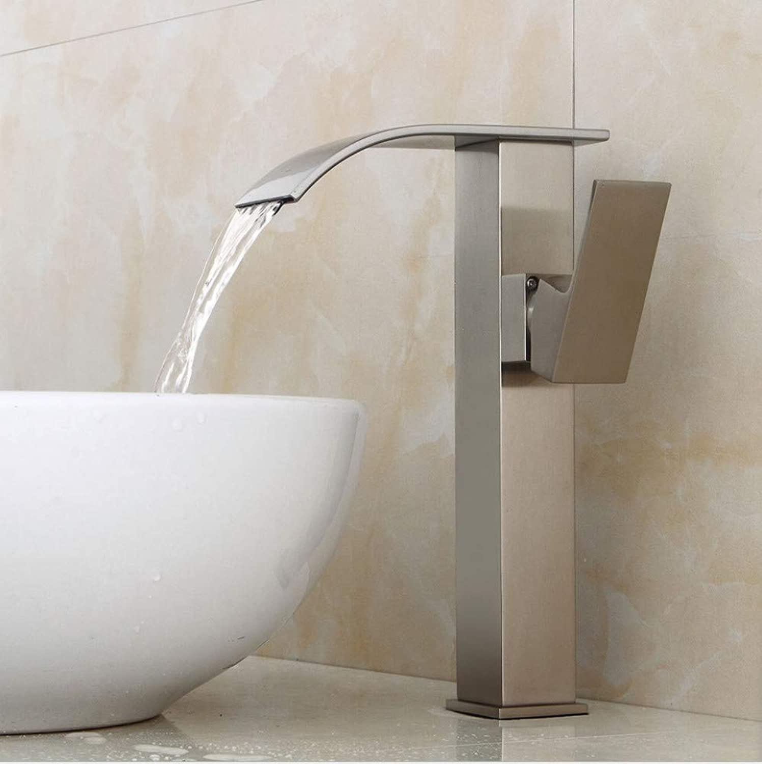 Faucet Brushed Lavatory Faucet European Above Counter Basin Height Faucet Waterfall hot and Cold Faucet Bathroom Copper Faucet